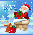 santa delivery gift through chimney vector image