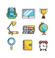 set creative school utensils to knowledge vector image