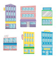 set flat buildings in cartoon style vector image vector image