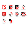 set initial letter ps logo template design vector image vector image