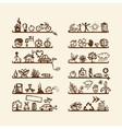 Shelves with ecology icons for yuor design vector image vector image