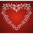 silver stars in shape heart vector image vector image
