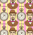 Sketch man in hat and pocket watch vector image vector image