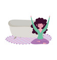 stay at home girl in yoga lotus pose vector image