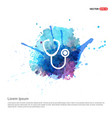 stethoscope icon - watercolor background vector image