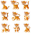 tiger cartoon set collection vector image vector image