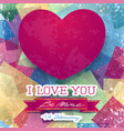 valentine card with stunning pink heart vector image vector image