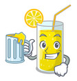with juice lemon juice glass on character table vector image