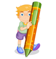 boy with pencil vector image