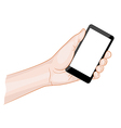 Man hand holding a smartphone with blank screen vector image