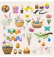 happy easter concept colourful poster of labels vector image