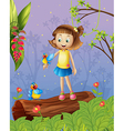 A girl with two birds inside the forest vector image vector image