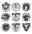 aliens and ufo vintage emblems labels badges vector image vector image