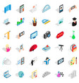backpack icons set isometric style vector image vector image