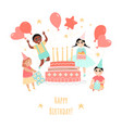 birthday greeting card with cheerful children vector image