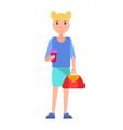 blonde girl student in blue blouse skirt vector image