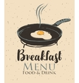 breakfast with a frying pan and fried eggs vector image vector image