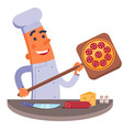 Cartoon chef holding pizza shovel with pizza vector image