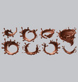 chocolate splashes realistic liquid drops swirls vector image