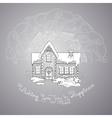 Christmas house and handwritten words on grey vector image vector image