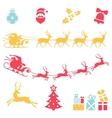 Christmas icons Santa claus sleigh vector image vector image