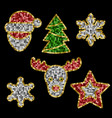 christmas toys set from sequins patch collection vector image vector image