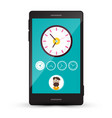 Clock icons and man avatar on cellphone screen vector image