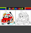 coloring book with red cartoon car washing vector image vector image