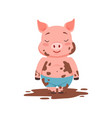 cute happy pig standing in a dirty pool funny vector image vector image