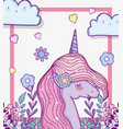 cute unicorn with flowers and branches leaves vector image