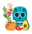day of the dead mask with mexican food vector image vector image