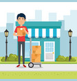 delivery worker with character vector image vector image
