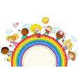 doodle kids on the rainbow vector image vector image