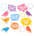 early birds trendy design with bird and speech vector image vector image