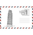 envelope with hand drawn leaning tower pisa vector image vector image