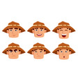 face expressions of farmer in hat vector image vector image