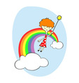 fairy over the rainbow vector image vector image