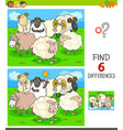 finding differences game with farm sheep vector image vector image