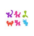 flat set colorful animal-shaped balloons vector image vector image