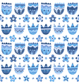 Floral blue seamless pattern on white background vector image