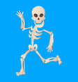 funny cartoon skeleton posing while running vector image