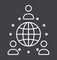 global partnership line icon business vector image vector image