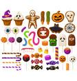 halloween sweets cartoon halloween candies vector image