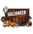 halloween witch monster party sketch poster vector image vector image