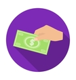 Hands giving money icon in flat style isolated on vector image vector image