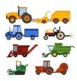Harvester machine set vector image vector image