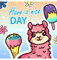 have nice day message kawaii card girlish template vector image vector image