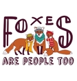 Hipster fox fun sign poster animal card vector image