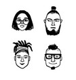 hipster style portraits set vector image