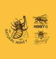honey and bees vintage logo for typography shop vector image vector image
